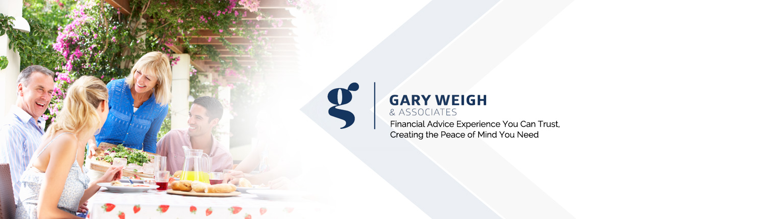 group of adults happily chatting during mealtime with Gary Weigh & Associates logo