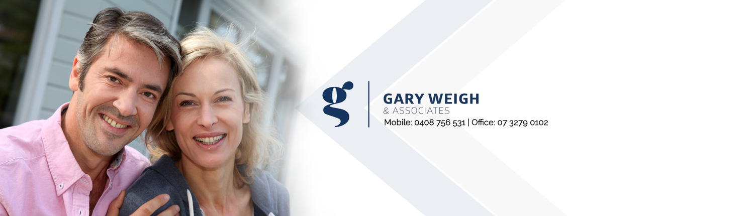 couple smiling at the camera with Gary Weigh & Associates logo