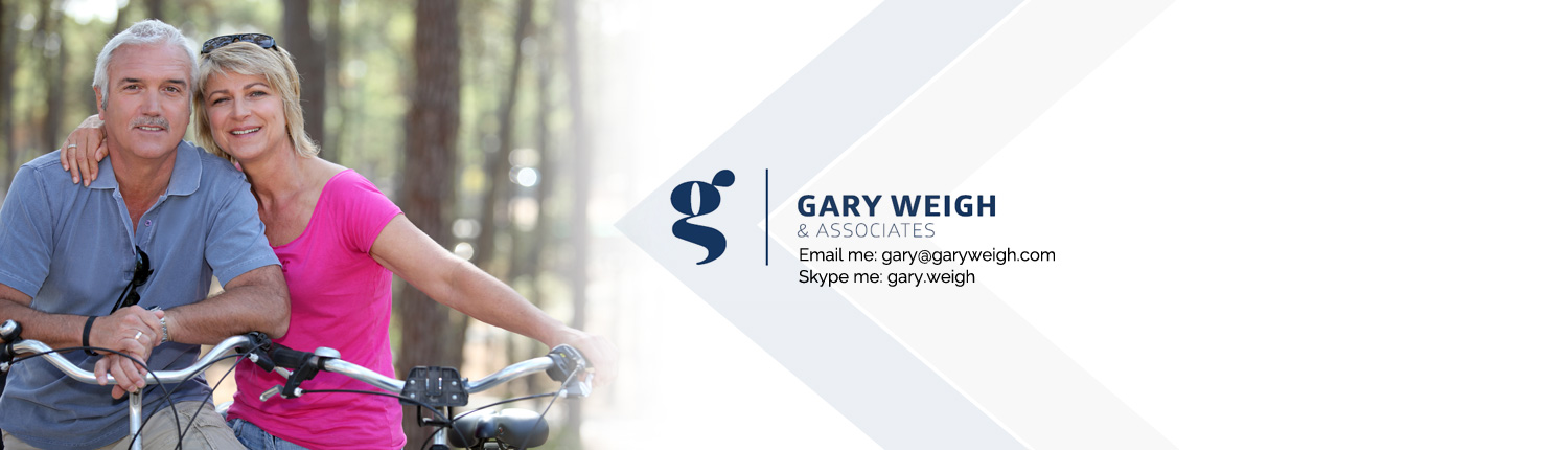 middle aged couple on bike with Gary Weigh & Associates logo