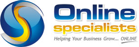 Online Specialists' logo in white, blue and yellow